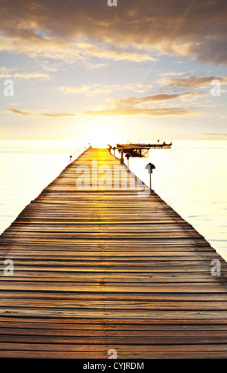 Boardwalk on beach - Stock Image