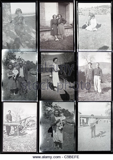 contact sheet with family and vacation photos from the 1950s 1960s South France Languedoc - Stock Image