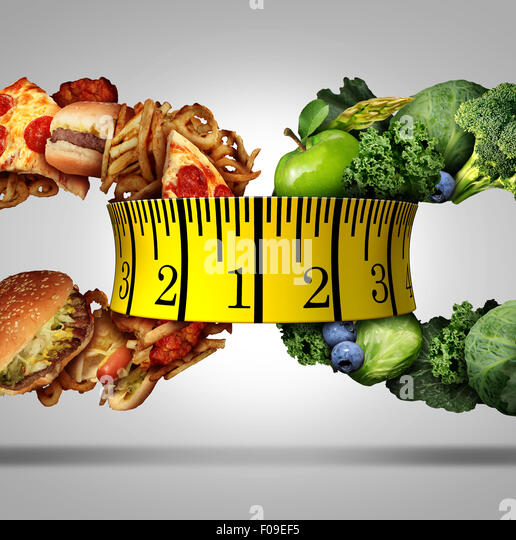 Measure diet tape food choice concept as a nutrition lifestyle symbol as a group of fruits and vegetables and greasy - Stock Image
