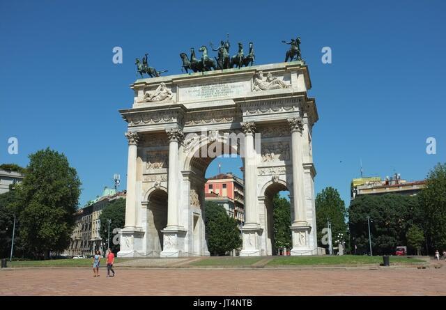 Arco della Pace (Arch of Peace), Porta Sempione (Sempione Gate), Milan, Lombardy, Italy, July 2017 - Stock Image