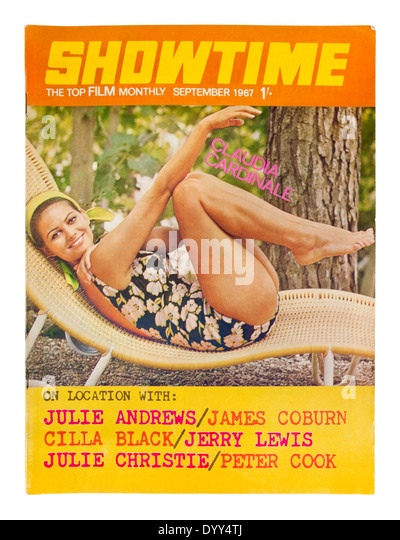 Italian actress Claudia Cardinale on the front cover of the September 1967 edition of 'Showtime' magazine - Stock-Bilder