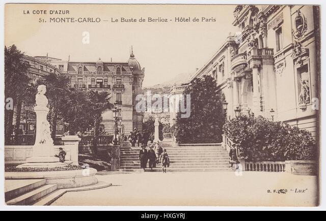 Hotel de Paris & bust of Berlioz, Monte-Carlo, Monaco - Stock Image