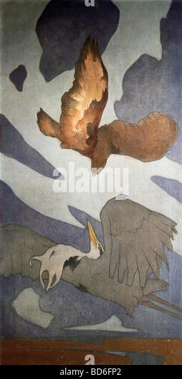 fine arts, Art Nouveau, graphic, painting, for decorative cloth, by Else von Edge, oil on canvas, circa 1898, Munich - Stock Image