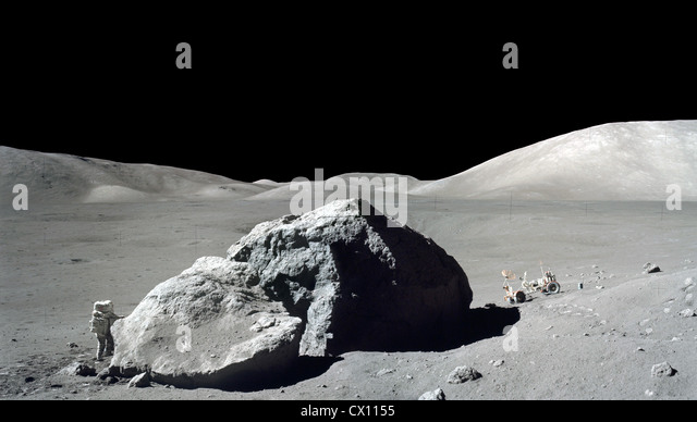 Scientist-astronaut Harrison H. Schmitt during the Apollo 17 mission, at the Taurus-Littrow landing site. - Stock Image