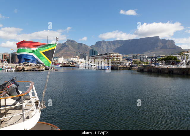 Cape Town Waterfront, with Table mountain, Cape Town South Africa - Stock Image