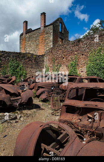 the ruins of the Nazi atrocity of 10th June 1944 at Oradour sur Glane, the Limousin, France - Stock-Bilder