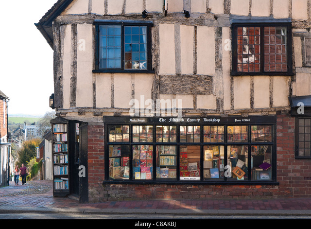 Historic 15th Century antiquarian book shop in Lewes high street East Sussex UK - Stock-Bilder