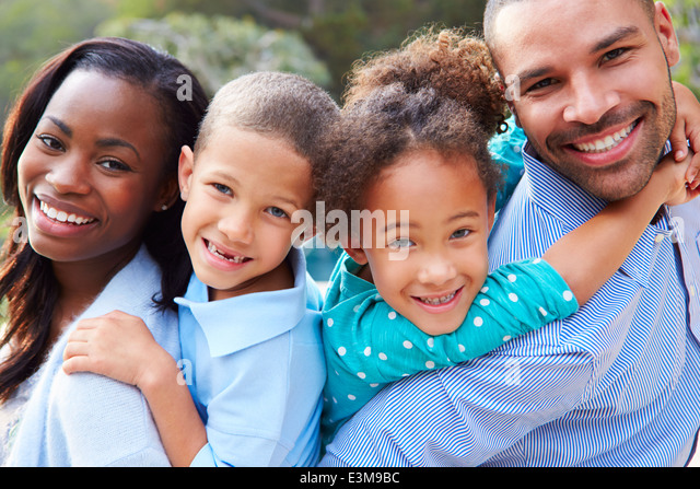 Portrait Of African American Family In Countryside - Stock Image