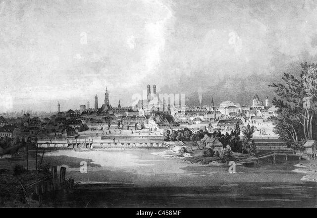 City view of Munich, 1850 - Stock-Bilder