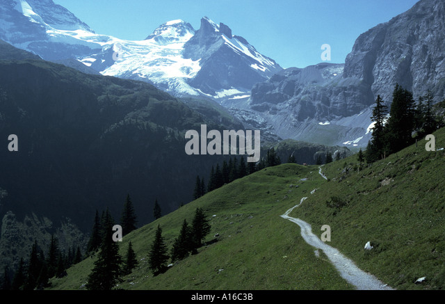 Tschingelhorn from the Lauterbrunnen Valley, Bernese Oberland, Switzerland - Stock Image