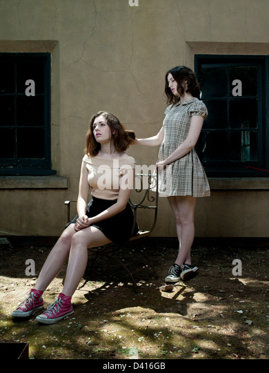 Portrait of Two Girls - Stock Image