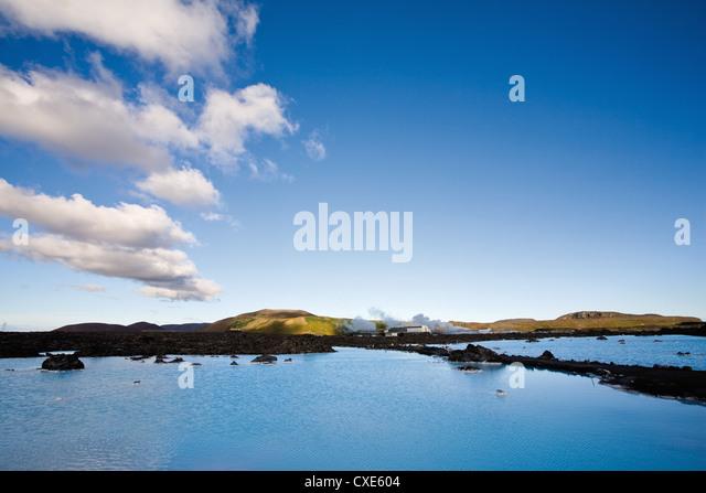 Blue Lagoon geothermal spa, Reykjanes Peninsula, Iceland - Stock Image