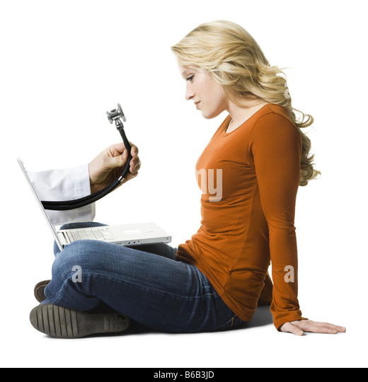 woman working on a laptop - Stock Image