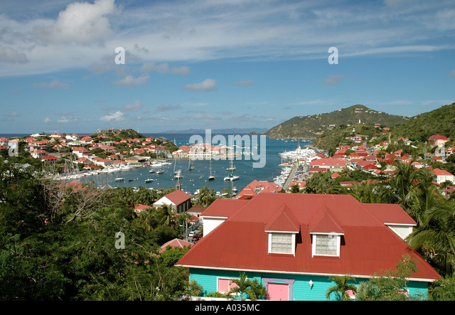 Saint Barth St Barts Gustavia Harbor fort overlooking the city - Stock Image