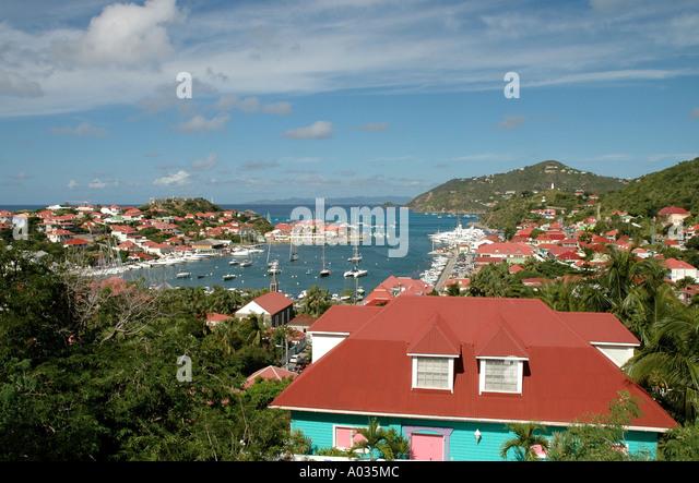 Saint Barth St Barts Gustavia Harbor fort overlooking the city - Stock Image