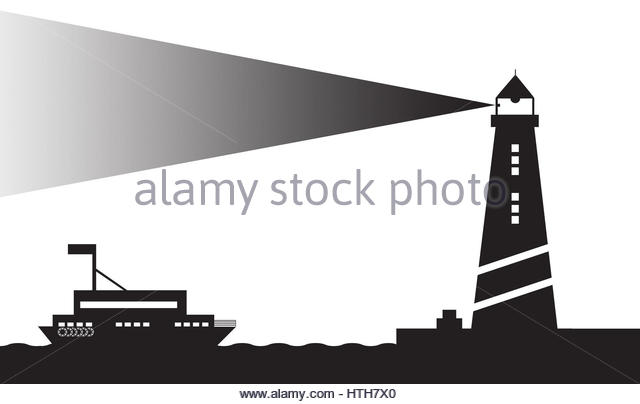 light house and ship clip art black and white - Stock Image