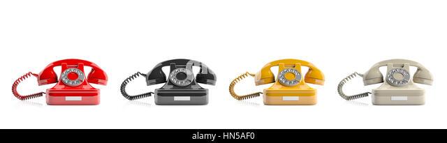 Old telephones isolated on white background. 3d illustration - Stock Image