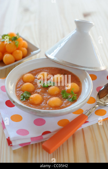 Melon, Tomato and Coriander Iced Soup - Stock Image