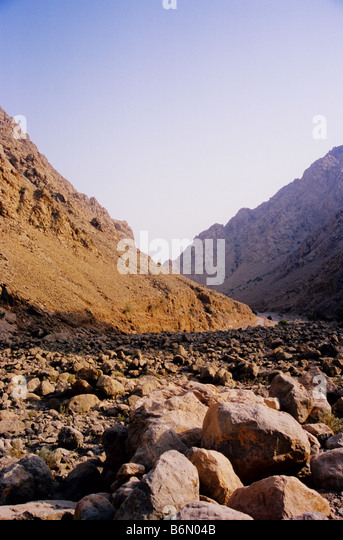 Trip into the Musandam mountains. Wadi Khab Al Shamsi, Musandam. Sultanate of Oman. Totally deserted, not another - Stock Image