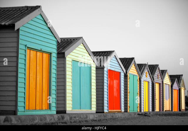 Beach huts in Melbourne, Australia - Stock Image