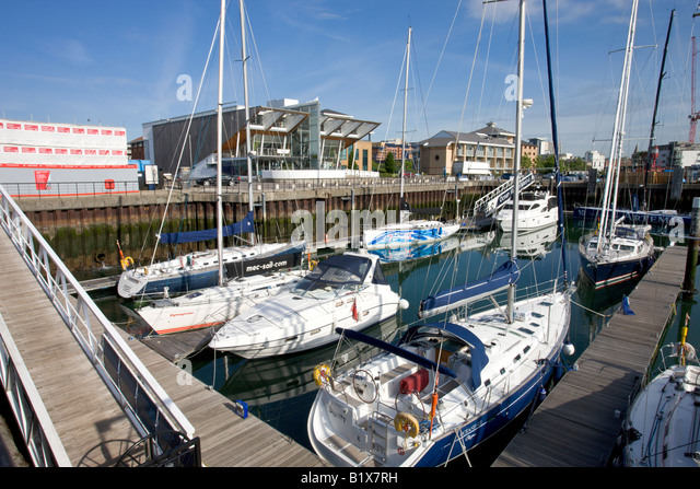 Luxury yachts moored at Ocean Village Marina Southampton Hampshire England - Stock-Bilder
