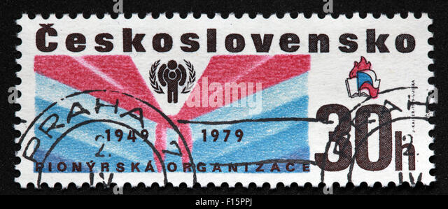 Ceskoslovensko Praha 1949 1979 Pionyrska organiza 30h stamp - Stock Image