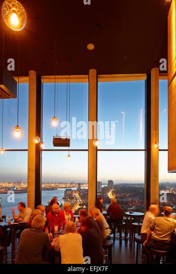 Bar, twentieth floor of the Hotel, St. Pauli, Hamburg, Germany - Stock Image