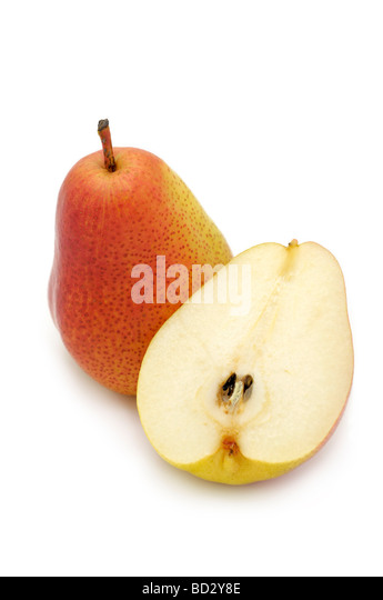 A Whole and Half a Forelle Pear - Stock Image