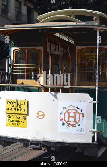San Francisco cable car, Powell and Market, San Francisco - Stock Image