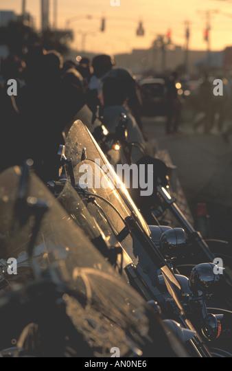 Daytona Beach Florida fl bike week motorcycles sun reflecting on motorcycles - Stock Image