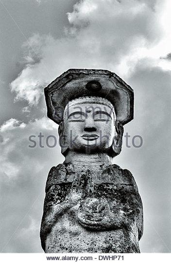 A Korean Buddhist statue at the Deokjusa Temple, Chungju-si, South Korea. - Stock Image