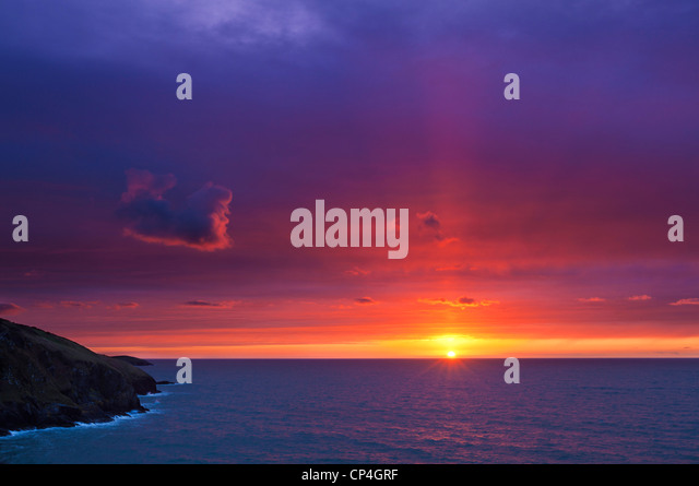 Sunset Mwnt Cardigan bay Ceredigion coast Cardiganshire Wales UK GB EU Europe - Stock Image