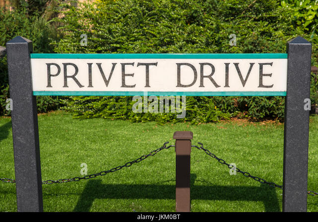 LEAVESDEN, UK - JUNE 19TH 2017: The street sign for Privet Drive at the Making of Harry Potter Studio tour at the - Stock Image