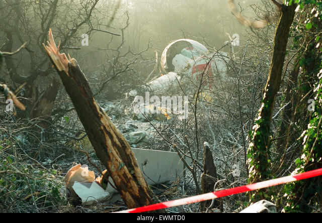 The wreckage near Coventry Airport following the Boeing 737 crash, which killed five people. 22nd December 1994. - Stock Image