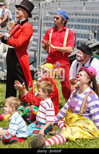 Wisconsin Kenosha Kenosha County Fairgrounds The Ultimate Kid Fest family event circus family ringmaster clowns - Stock Image