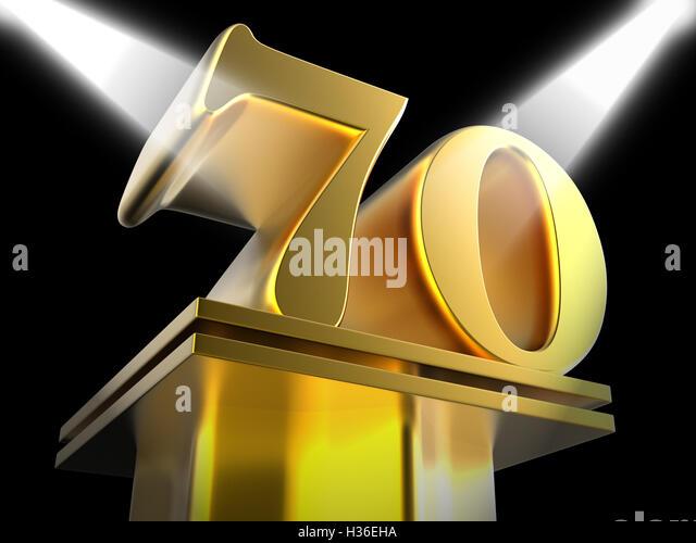 Golden Seventy On Pedestal Means Honourable Mention Or Excellenc - Stock Image