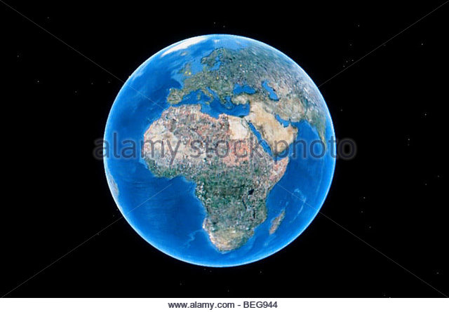 World globe as seen on Google Earth - Stock Image