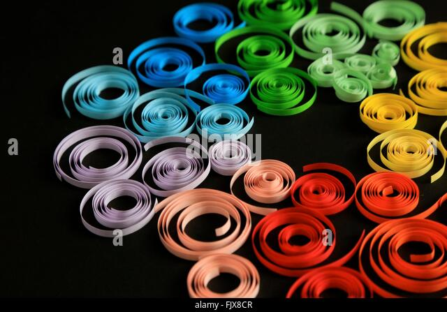 High Angle View Of Colorful Ribbon On Black Background - Stock-Bilder