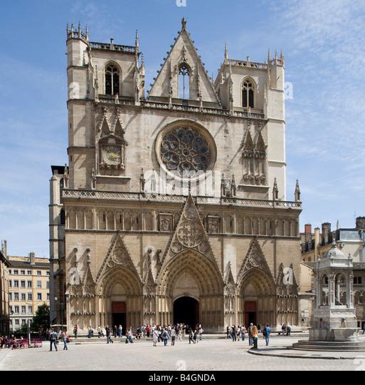 Lyon, Kathedrale Saint-Jean, Westfassade - Stock-Bilder
