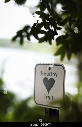 Massachusetts USA health trail information sign metal green heart - Stock Image