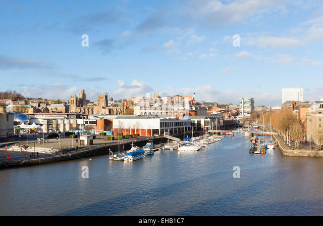 BRISTOL, UK - JANUARY 2, 2014 : Skyline view of  St Augustine's Reach and Bristol Harbourside. The view includes - Stock Image