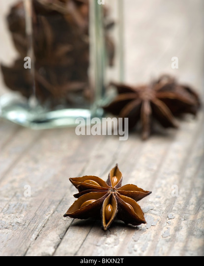 Star Anise With Spice Jar - Stock Image