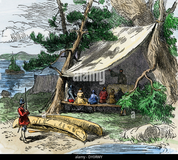 Makeshift religious services at Jamestown, Virginia Colony, 1607. - Stock Image
