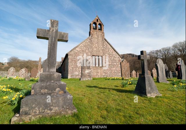 Church and graveyard Lake District - Stock Image