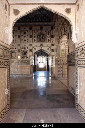 Indoor view, Fort Amer, Amber, Jaipur, Rajasthan, Indien, India - Stock-Bilder