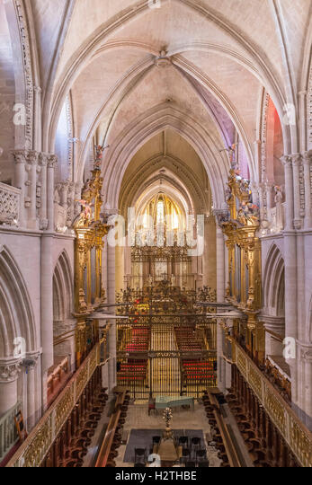 Interior of the cathedral of Cuenca, Grill of the Choir, Spain - Stock Image