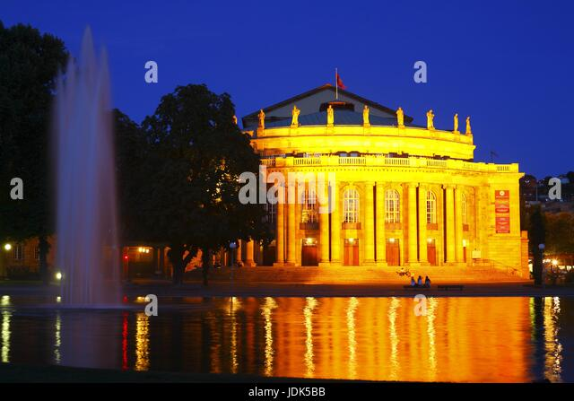 DEU, Deutschland, Stuttgart: Staatstheater bei Abenddaemmerung | Main Central Railway Station at dusk, Stuttgart, - Stock-Bilder