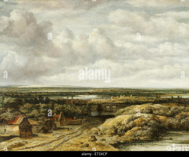 Distant View with Cottages along a Road - by Philips Koninck, 1655 - Stock Image