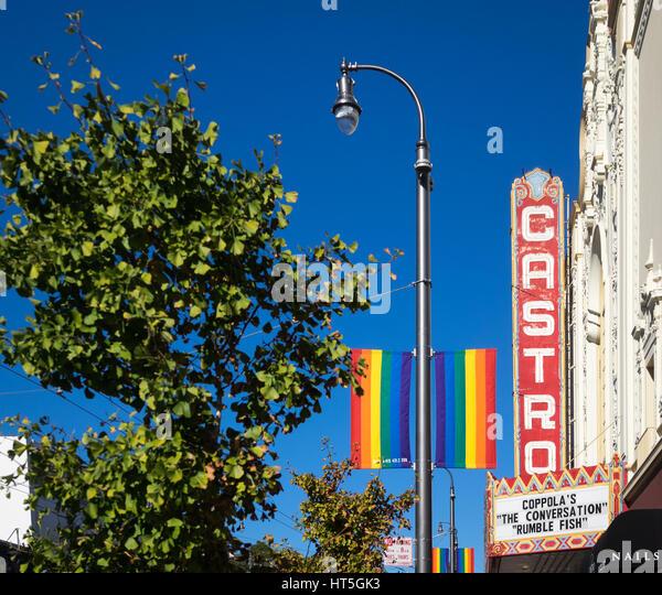 The marquee of the iconic Castro Theatre, in The Castro District, San Francisco, California. - Stock Image