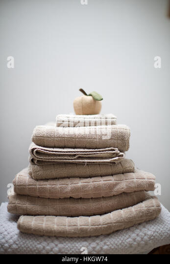 artificial fruit on stack of towel. cotton, heap, textile, dry. - Stock-Bilder